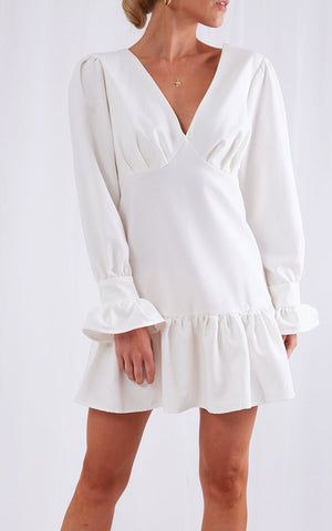 pastelle, white, dress, white dress, womens clothing, long sleeve, off shoulder