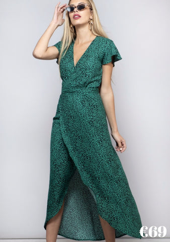 cayenne, green, leopard print, green leopard, dancing leopard, dress, long dress, short sleeves