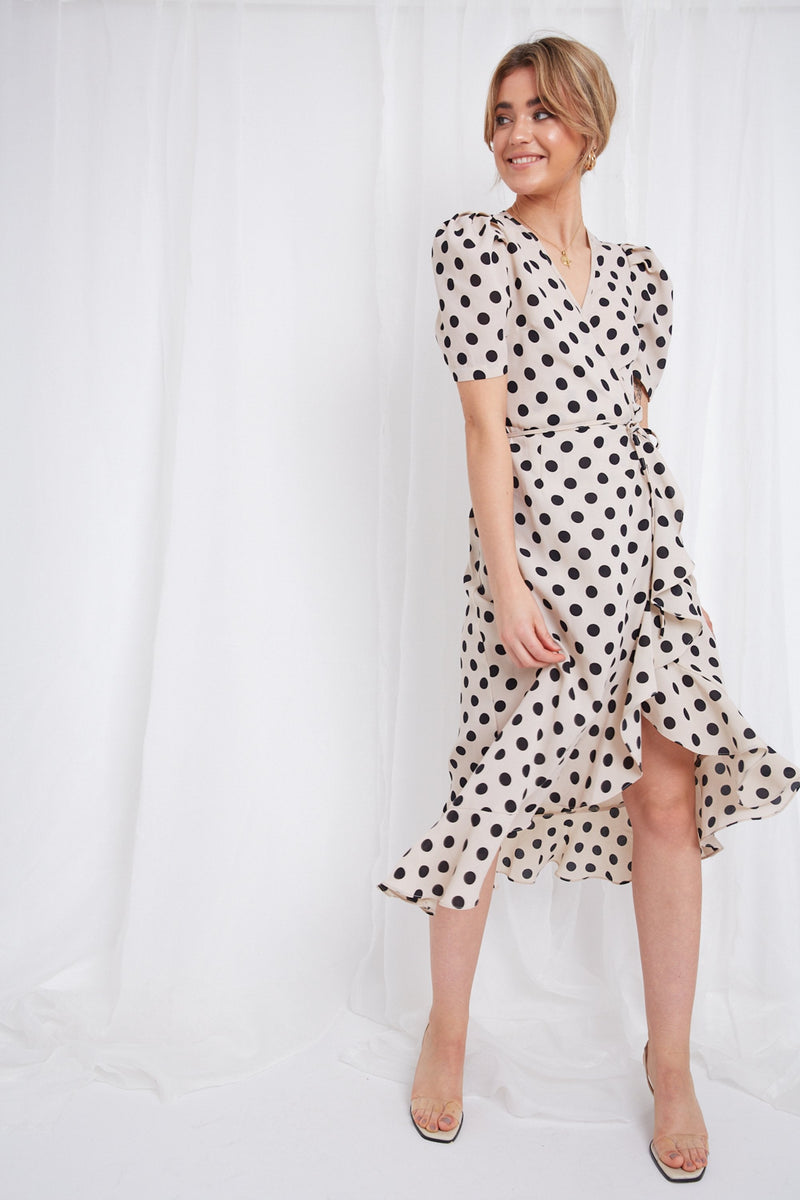 Summer dress with dots - Avery Wrap Dress - Coco Boutique