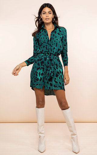 green, leopard, green leopard, shirt dress, mini dress, mini shirt dress