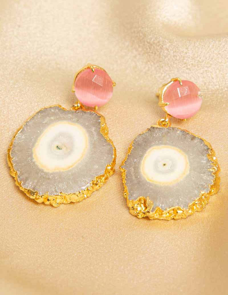 DREAM CATCHER DISK EARRINGS - PINK AND OPAL GEMSTONE