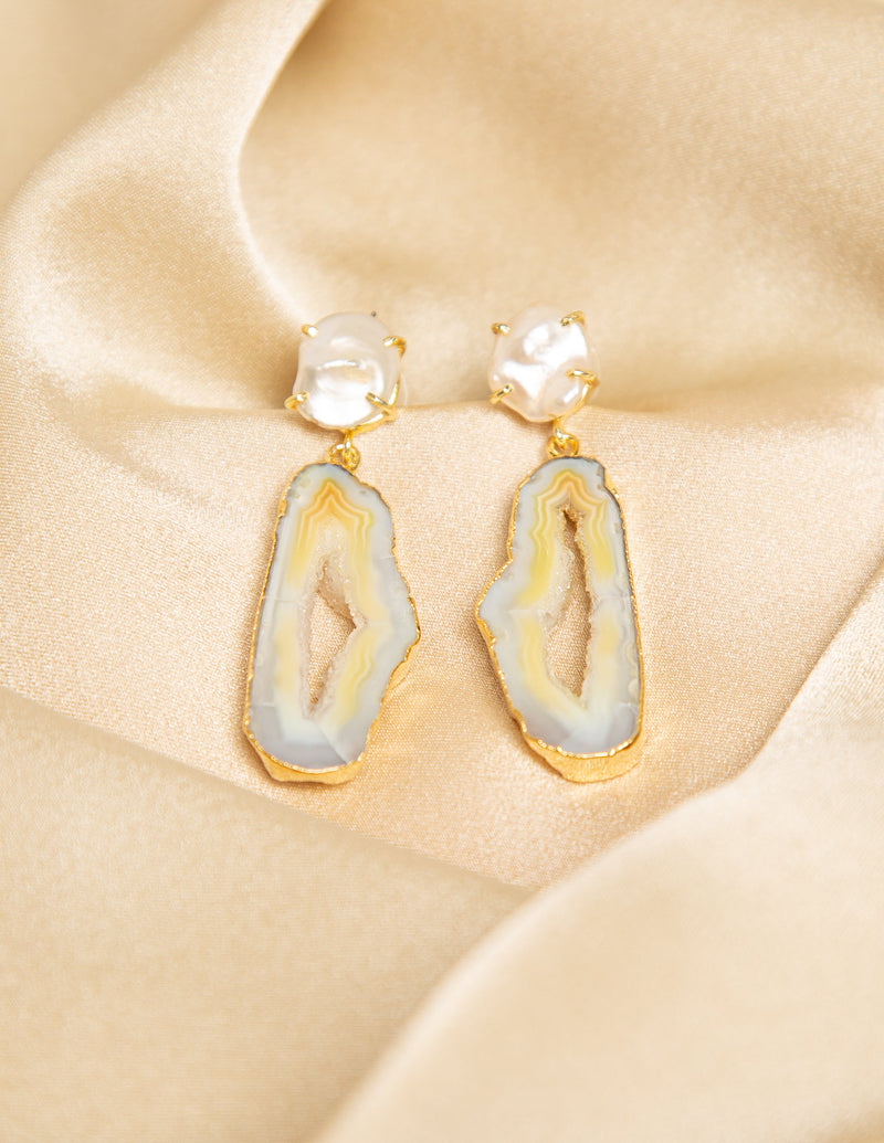 OPALESCENT HANGING GEMSTONE EARRINGS
