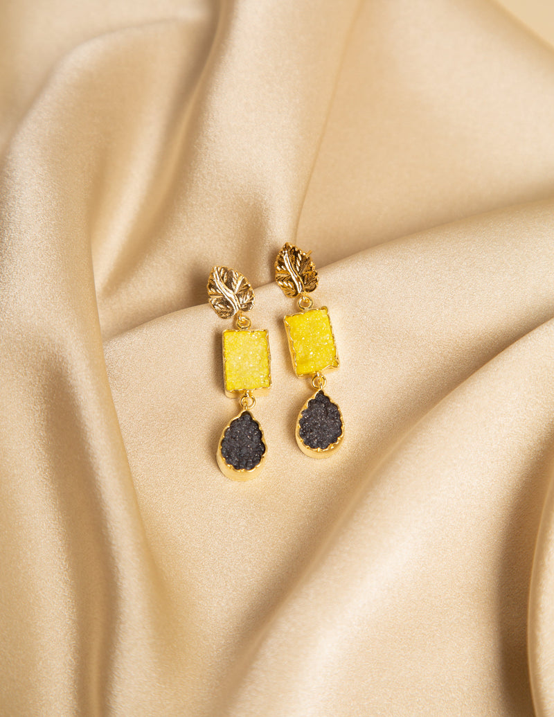 LILAC GEMSTONE EARRINGS - YELLOW & CHARCOAL GEM