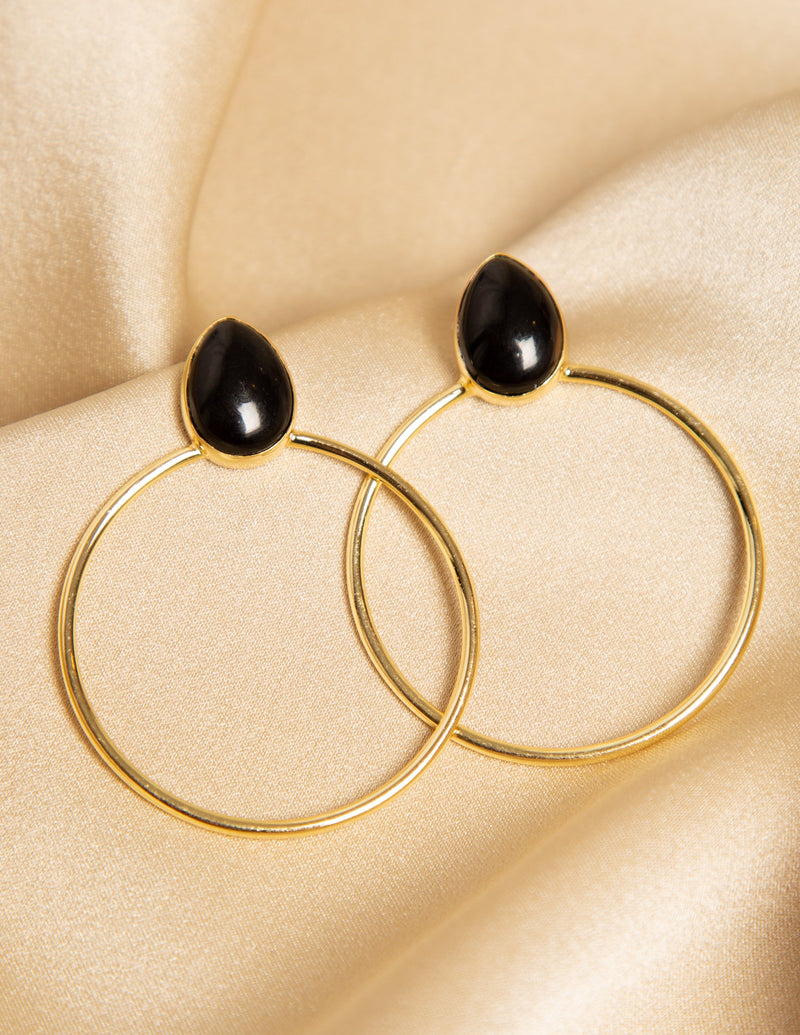 VIRGO MIDNIGHT BLACK GEMSTONE HOOP EARRINGS