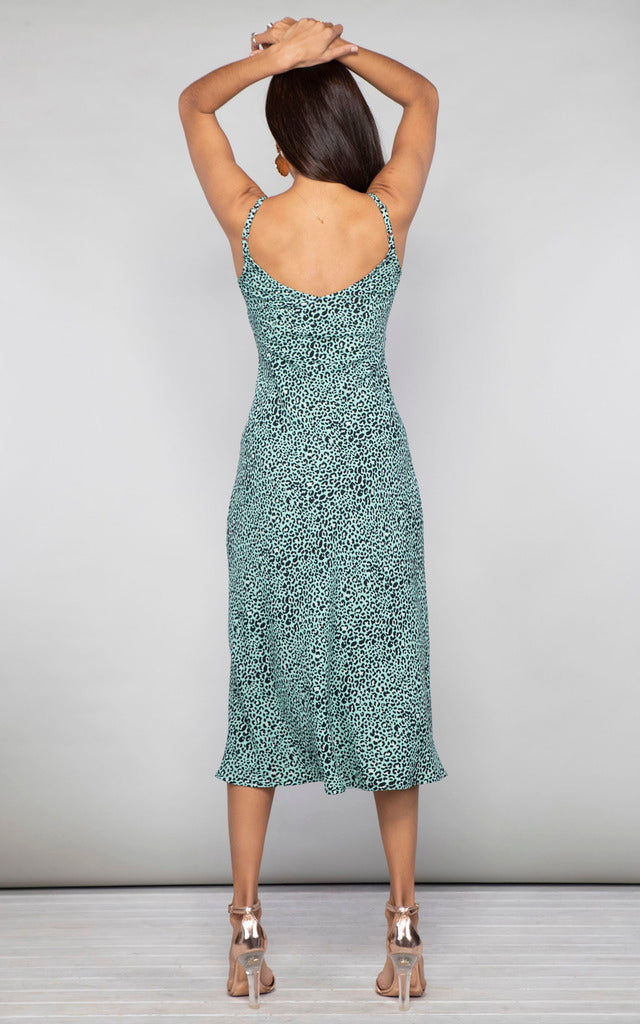 JADE DRESS IN MINT DITZY LEOPARD - Dancing Leopard