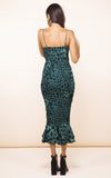 dancing leopard, luiza, luiza dress, midi dress, spaghetti straps, party dress, party season, event dress, event season, event wear, party wear, mermaid silhouette, green leopard