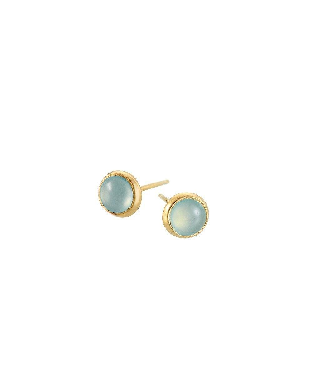 Exploring the beauty of nature in design; these simply stunning 18k gold plating sterling silver stud earrings with aqua gem insets are the perfect go-to accessory for daily wear or as a special something for that someone special