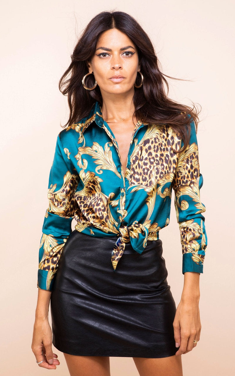 NEVADA SHIRT IN GREEN BAROQUE - Dancing Leopard