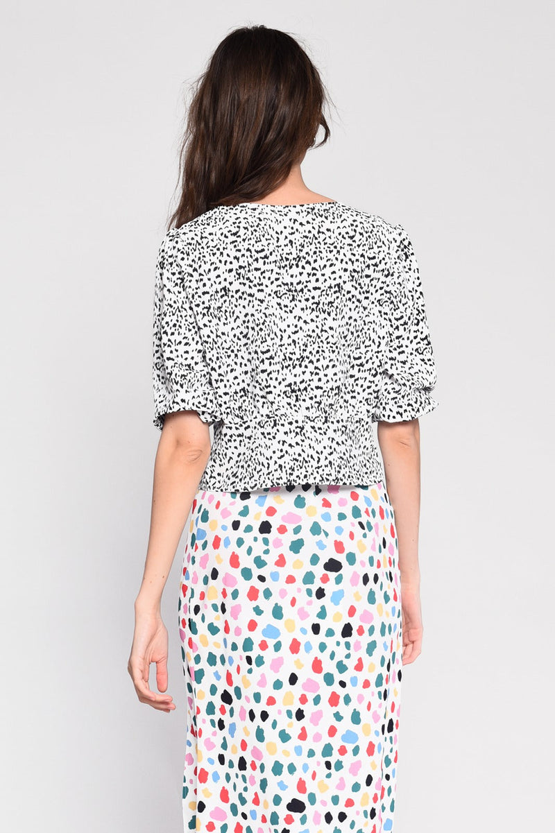 coco boutique, coco boutique top, tops, The sweet and simple, easy-to-wear Cici dalmatian print top with V-neckline and bell sleeves is an easy way to spice up an outfit quickly and easily.  Great to wear with jeans or skirts and your favourit