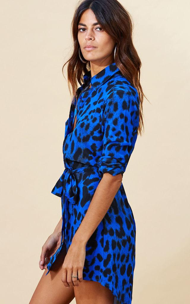 MINI SHIRT DRESS IN BLUE LEOPARD - Dancing Leopard