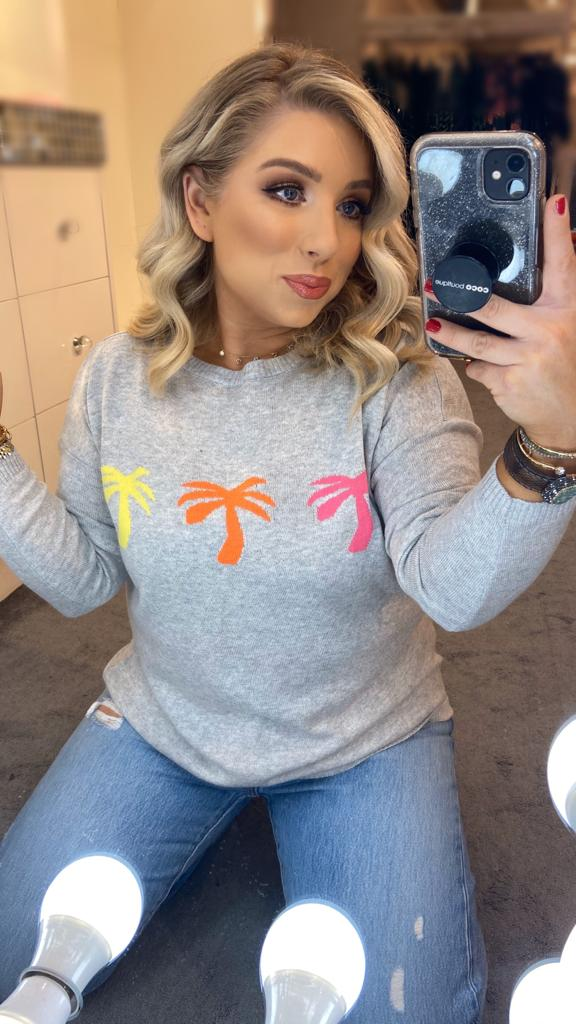 PALM TREE COTTON SWEATER - Grey