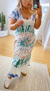 JUNI TIE-DYE MIDI DRESS - BLUE & PINK MIX