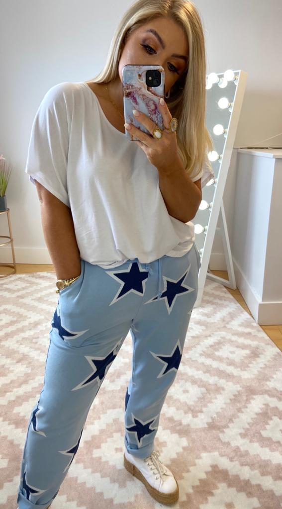 BLAIR STATEMENT JOGGERS - BABY BLUE STAR