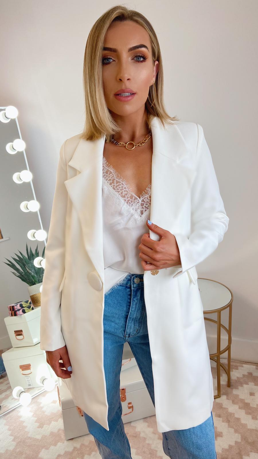 DANI LONGLINE TAILORED BLAZER - IVORY