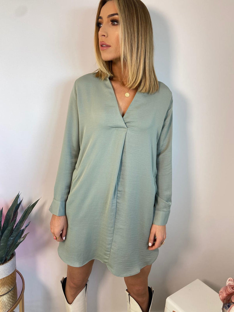 SHELLY SILKY TUNIC DRESS - GREEN
