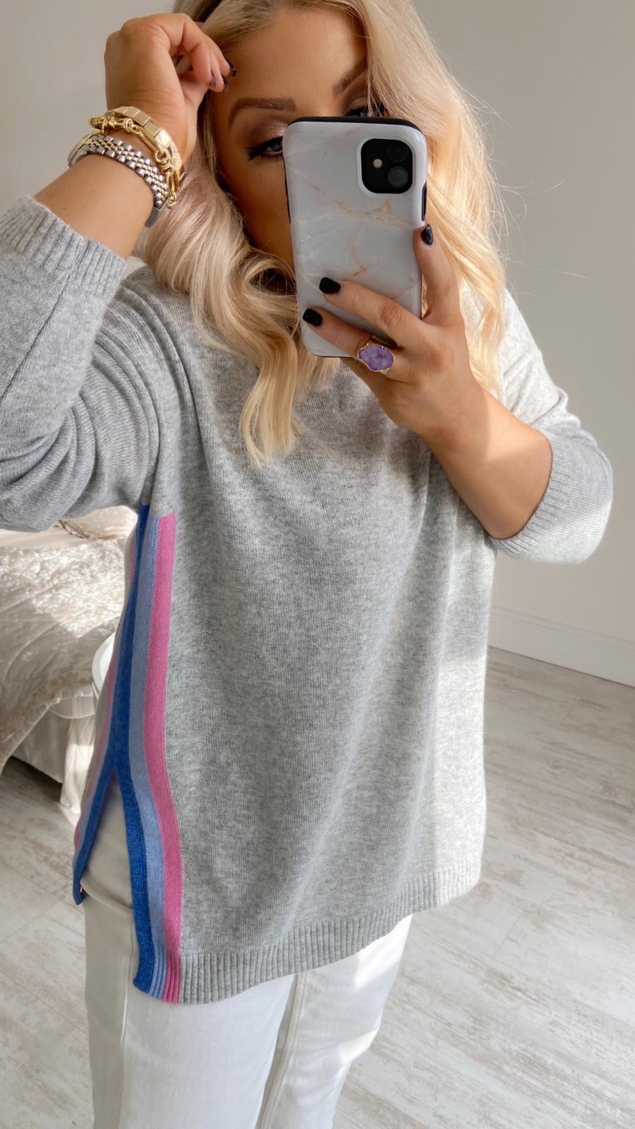 PRIMROSE PINK & BLUE STRIPE CASHMERE SWEATER
