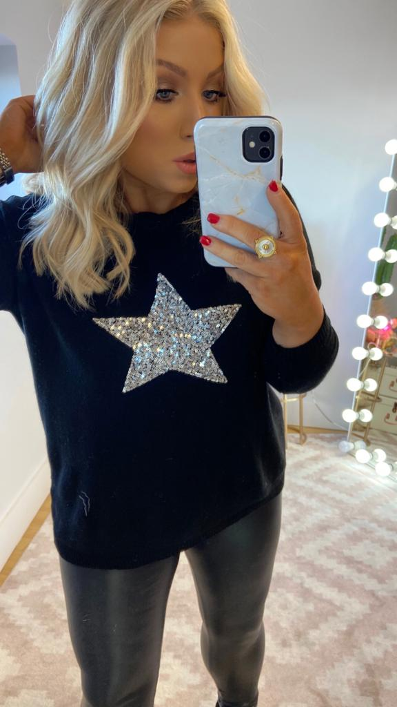 PANDORA BLACK CASHMERE JUMPER WITH SILVER SEQUIN STAR