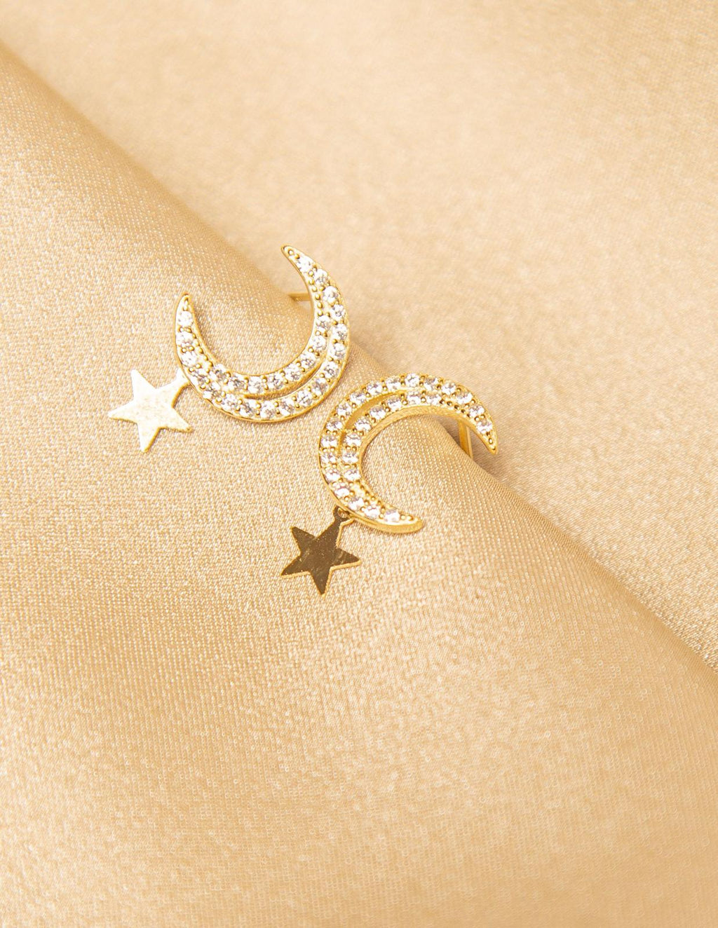 CAROL.B PAVE MOON & HANGING STAR EARRINGS
