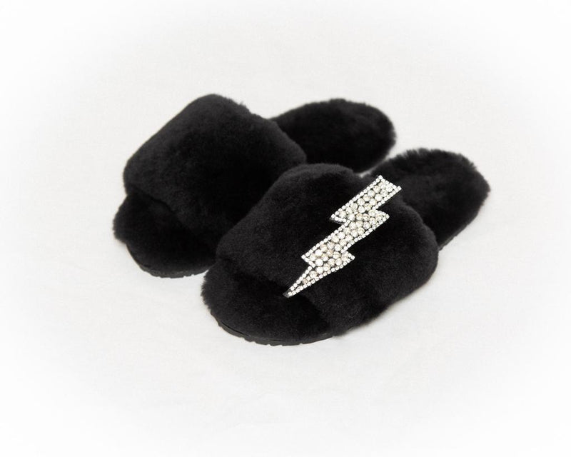 LUXURY SHEARLING SLIPPERS - BLACK
