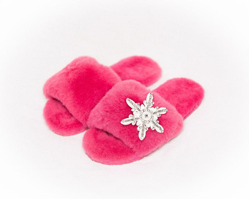 LUXURY SHEARLING SLIPPERS - FUSCHIA