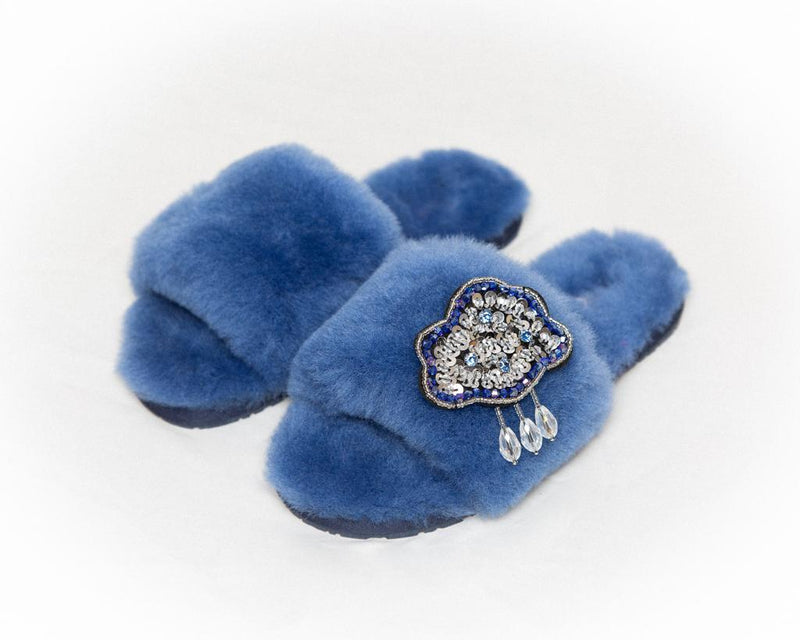 LUXURY SHEARLING SLIPPERS - BLUE