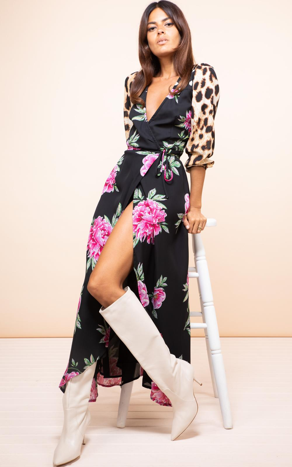 JAGGER WRAP DRESS IN PINK PEONY- Dancing leopard