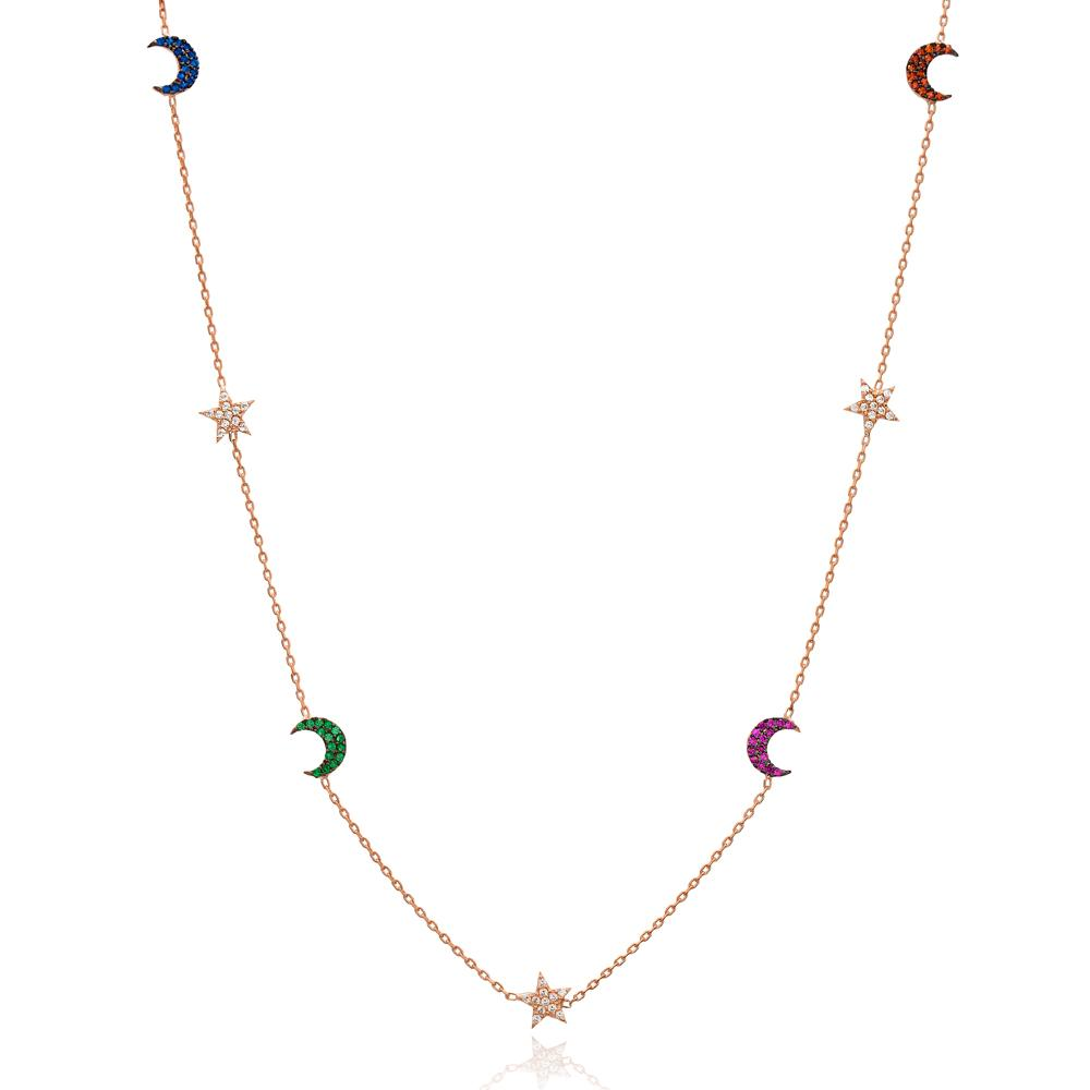 MIXED STONE STAR & MOON NECKLACE - 18K GOLD