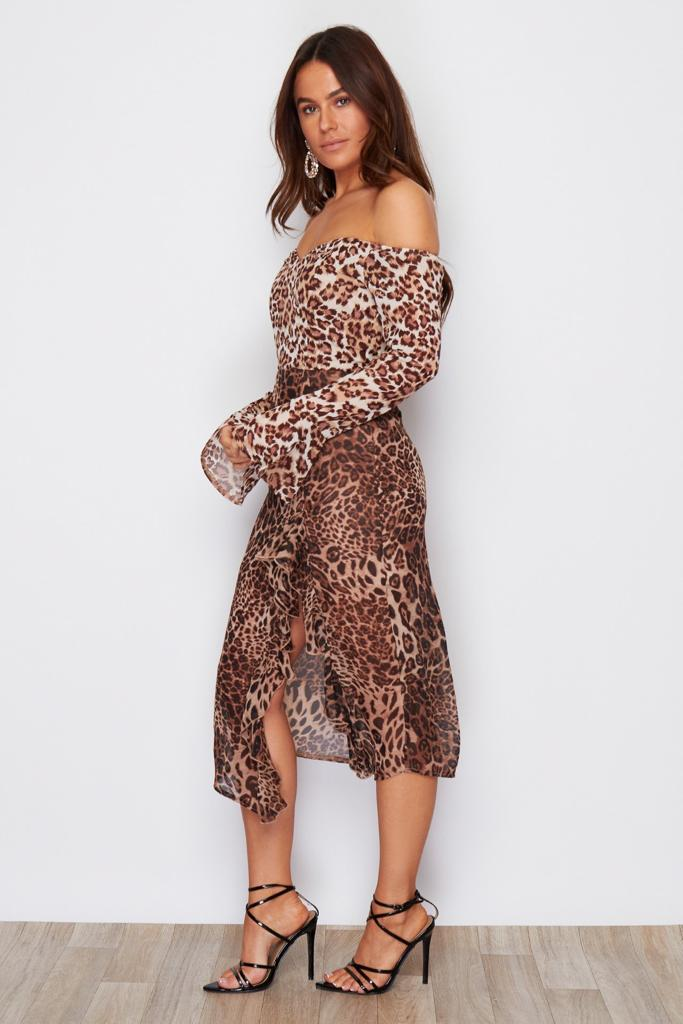 coco boutique, coco boutique midi dress, verity bardot midi dress, midi dress in animal print, leopard print midi dress