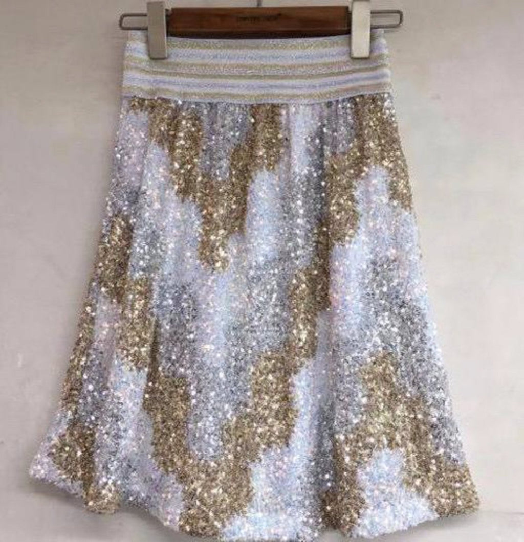 ANDI MINI SEQUIN SKIRT - GOLD & WHITE