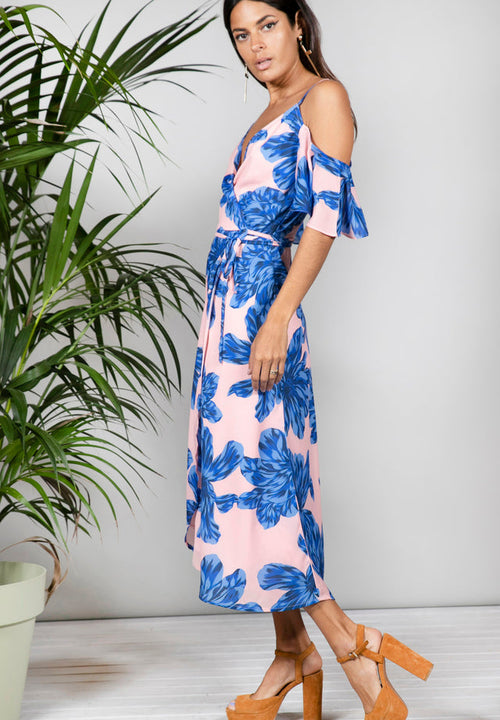 IVY DRESS IN BLUE ON NUDE BLOOM - Dancing Leopard