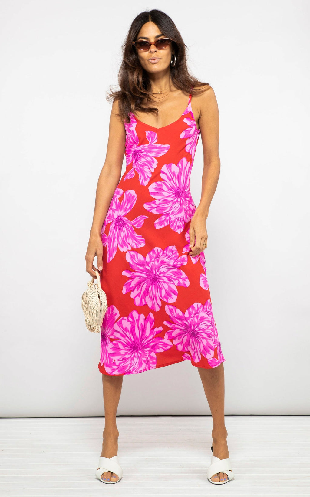 JADE DRESS IN RED BLOOM - Dancing Leopard