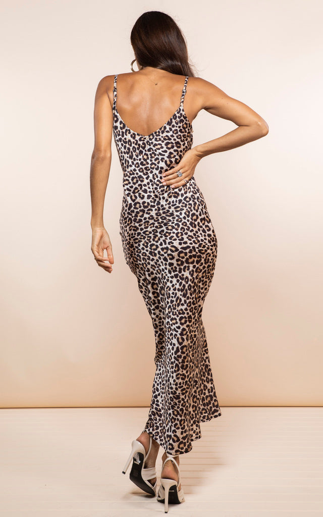 PALOMA MAXI SLIP DRESS IN RICH LEOPARD - Dancing Leopard