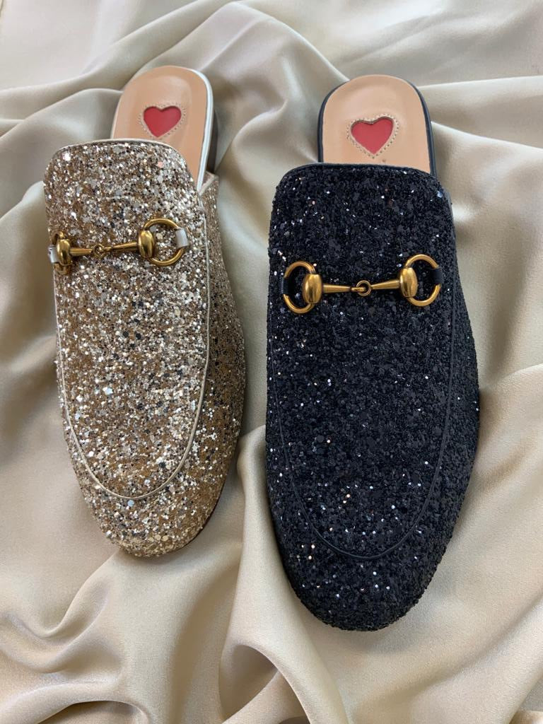THE LEATHER SLIDER - GOLD GLITTER