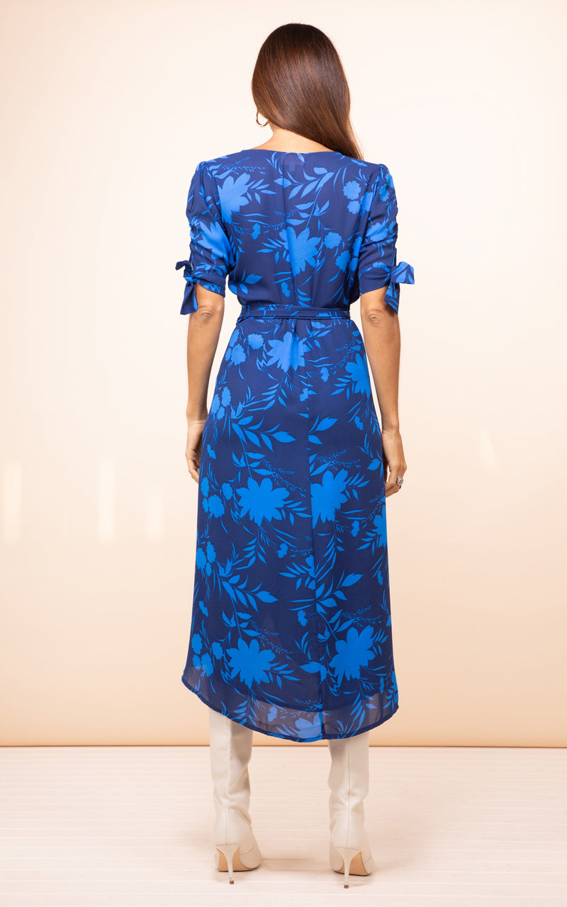 OLIVERA MIDI DRESS IN SILHOUETTE DARK BLUE GROUND - Dancing Leopard