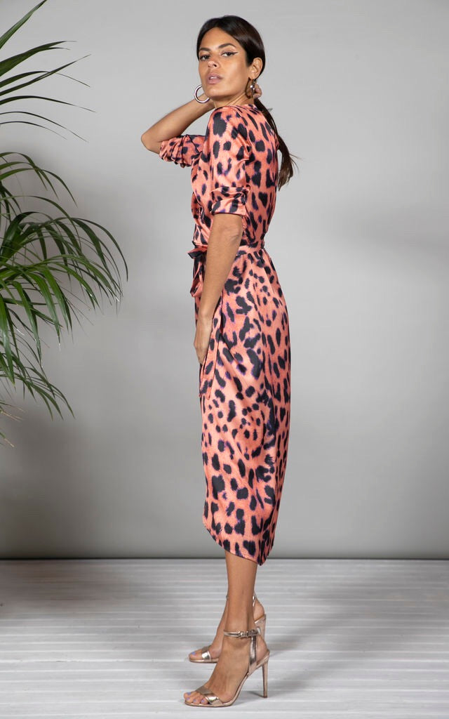 YONDAL DRESS IN PLEORANGE LEOPARD - Dancing Leopard
