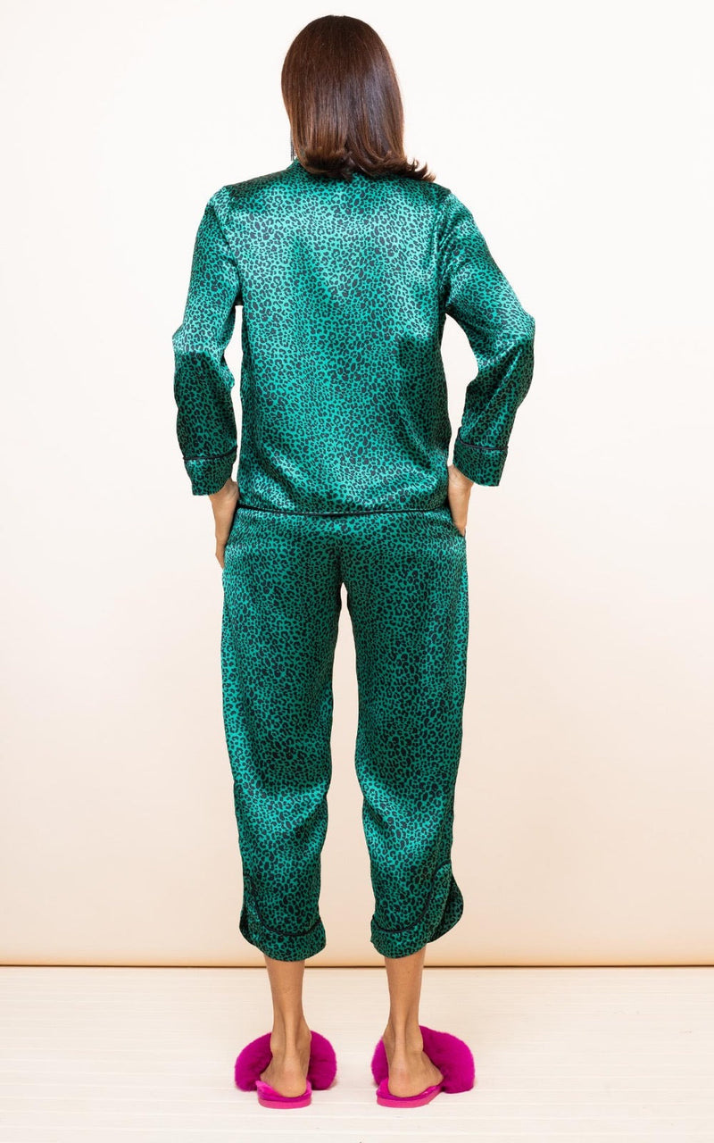 ENYA PJ SET IN SMALL GREEN LEOPARD - Dancing Leopard