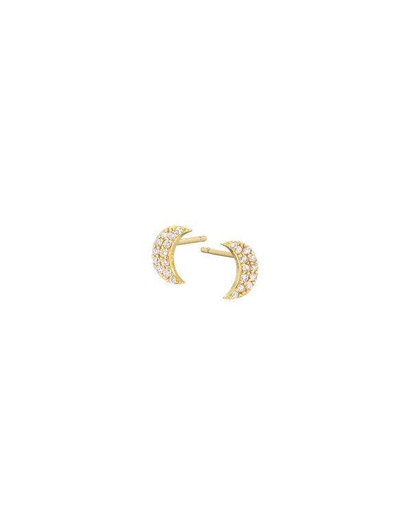 Golden Pave Crescent Moon Stud Earrings
