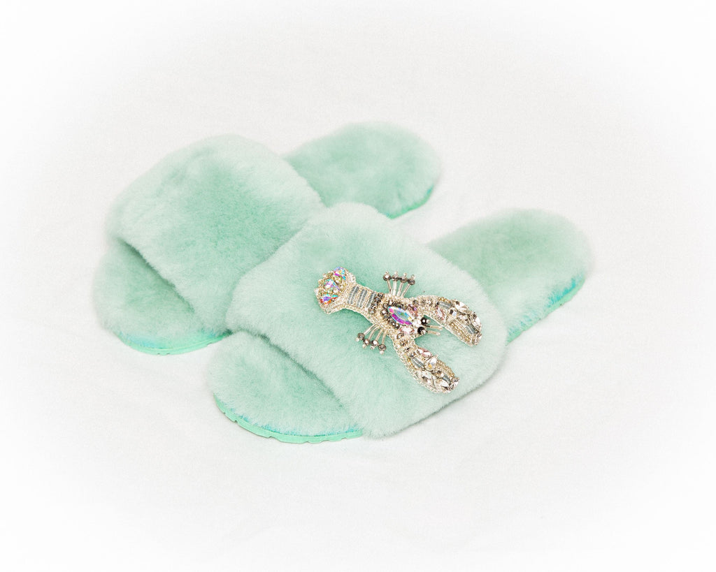 LUXURY SHEARLING SLIPPERS - MINT