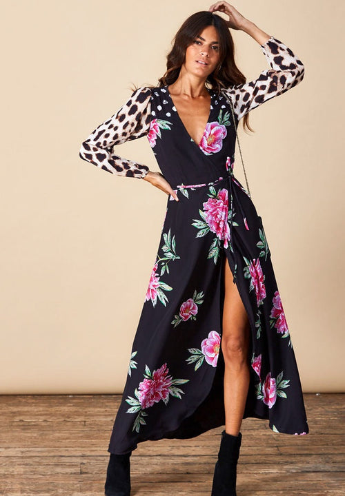 Jagger Wrap Dress  - Dancing leopard