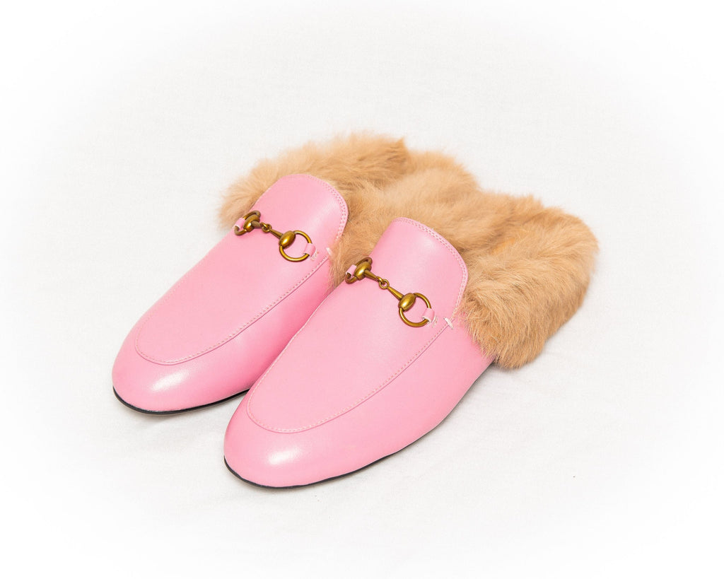 THE LEATHER SLIDER - CANDY PINK WITH SHEEPSKIN LINING