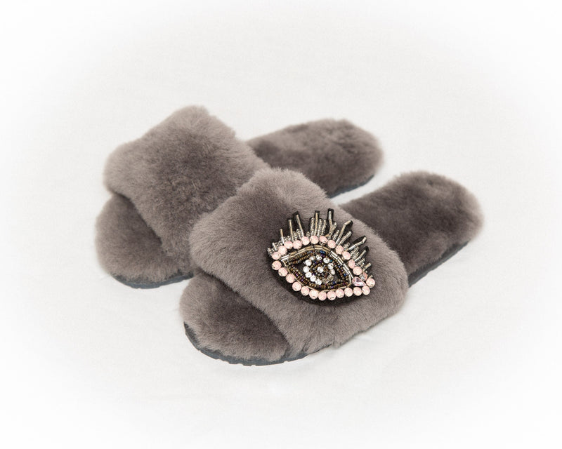 LUXURY SHEARLING SLIPPERS - GREY