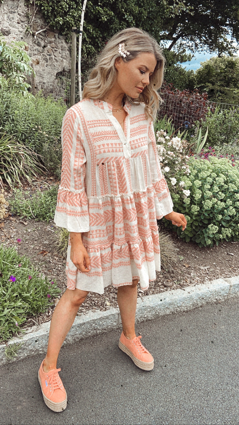 ICARIA ORGANIC COTTON EMBROIDERED DRESS - Blush
