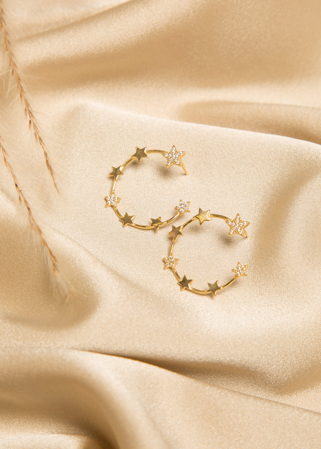 CAROL.B COSMOS STAR CIRCLE PAVÉ EARRINGS - Gold