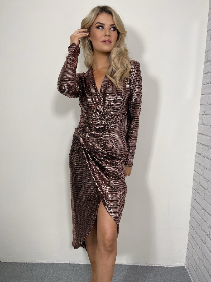 lauren, midi dress, lauren midi dress, bronze, bronze sequin, sequin, sequins, sequin dress, bronze sequin dress,