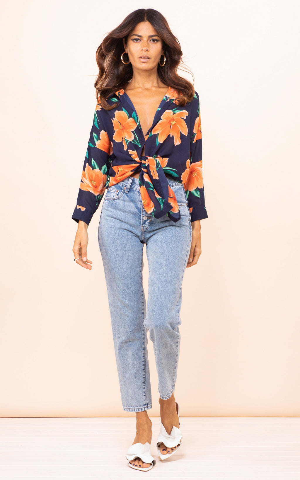 JERICHO SHIRT IN ORANGE ON NAVY TULIP - Dancing Leopard