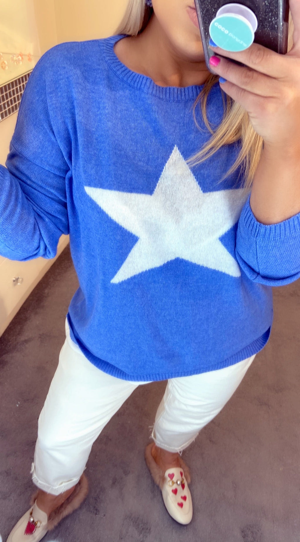 LOTTIE CASHMERE STAR SWEATER - Sea Blue