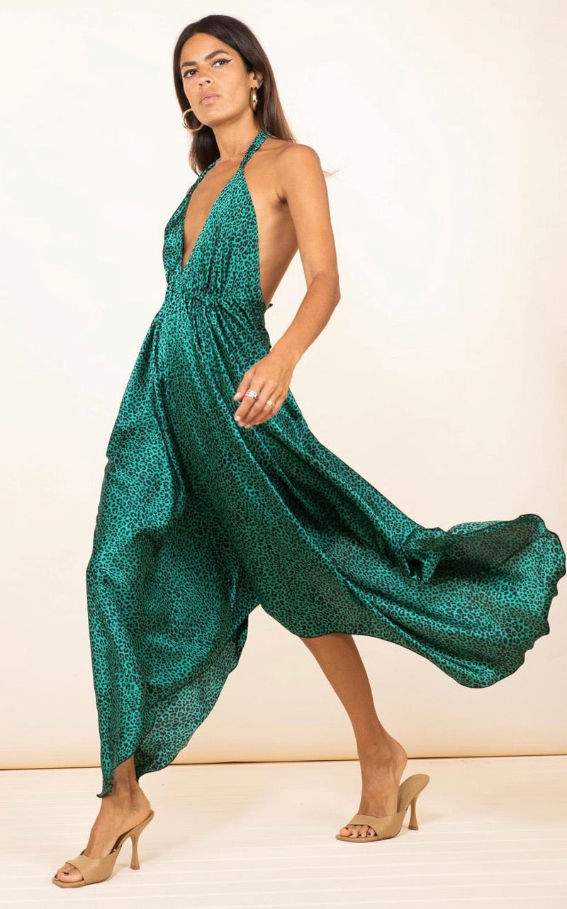 BOHO MAXI DRESS IN SMALL GREEN LEOPARD - Dancing Leopard