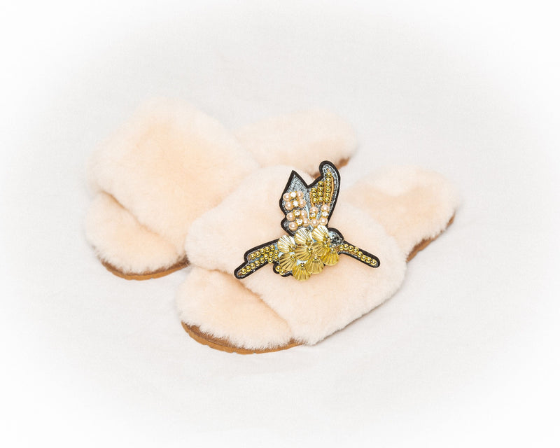 LUXURY SHEARLING SLIPPERS CHAMPAGNE