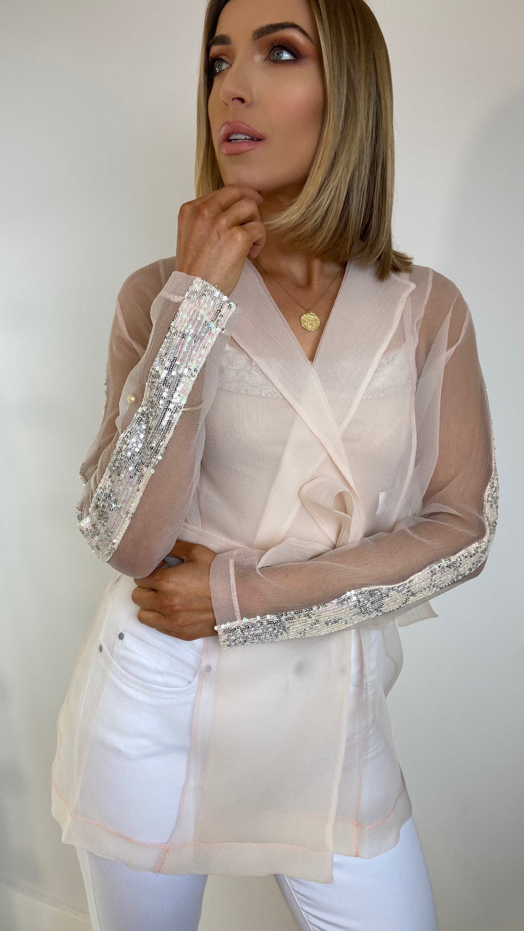 CARRIE VOILÉ SHEER JACKET - BLUSH