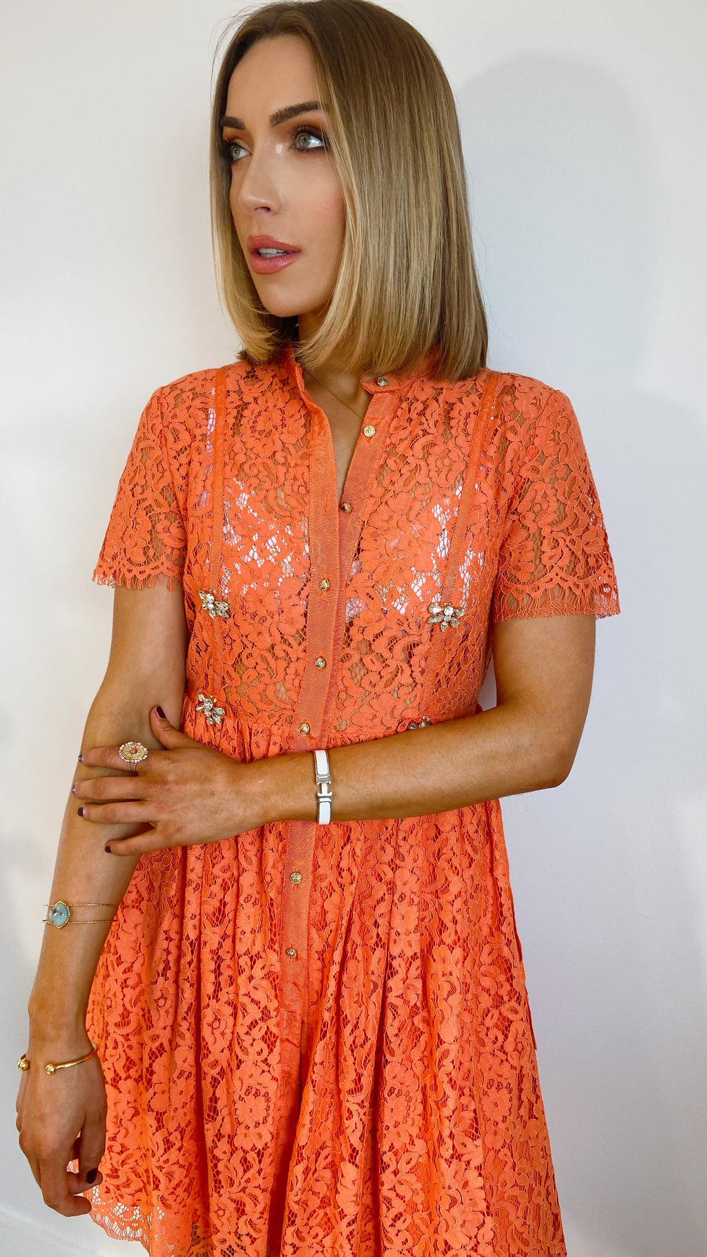 DOMINIQUE FLUO CORAL LACE DRESS